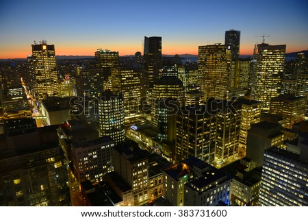 Vancouver city financial district at night, photo taken from the Harbour Centre tower, Vancouver, British Columbia, Canada.