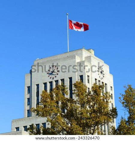 Vancouver City Hall is an Art Deco style in downtown Vancouver, British Columbia, Canada. - stock photo