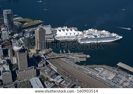 Vancouver Downtown and port - stock photo