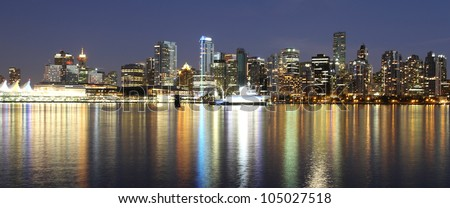 Vancouver downtown colorful night, Canada BC. - stock photo