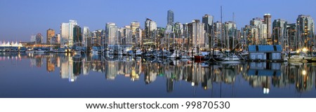 Vancouver downtown panoramic night, Canada BC .