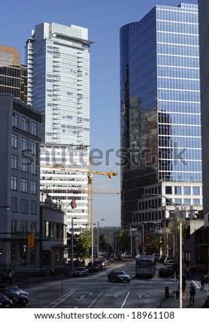Vancouver downtown streets in the morning (British Columbia, Canada).