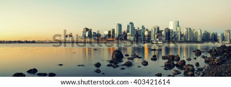 Vancouver downtown with urban buildings at waterfront. - stock photo