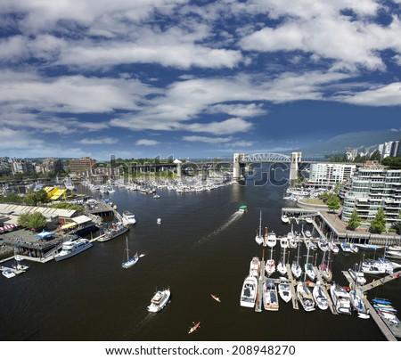 Vancouver, False Creek, Burrard Bridge and Granville Island, British Columbia, Canada - stock photo