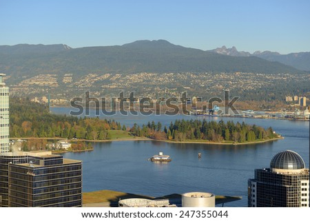 Vancouver Harbour, Stanley Park and Mount Fromme, photo taken from the Harbour Centre tower, Vancouver, British Columbia, Canada. - stock photo