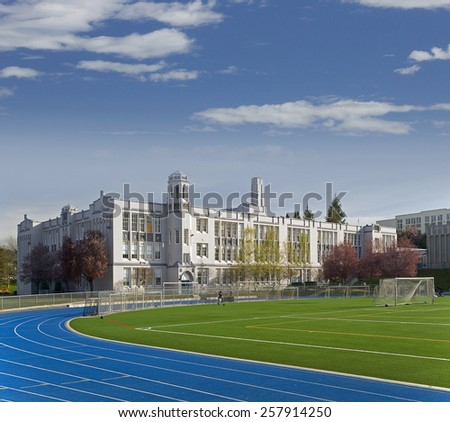 VANCOUVER HERITAGE - MARCH 19, 2010: 42 schools in Vancouver are 90-100 years old, twenty were built in 1910 or earlier. Pictured is Point Grey Secondary School in Collegiate Gothic style. BC, Canada - stock photo