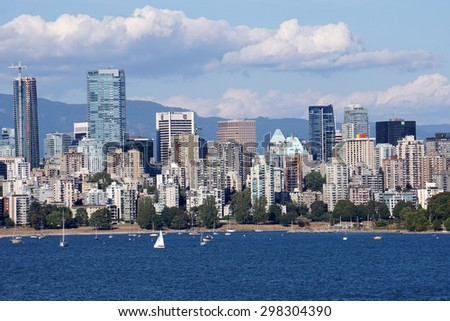 VANCOUVER - JULY 2015:   Vancouver is a very gay friendly city, and the rainbow flag is a permanent part of its skyline as seen in Vancouver in July 2015.
