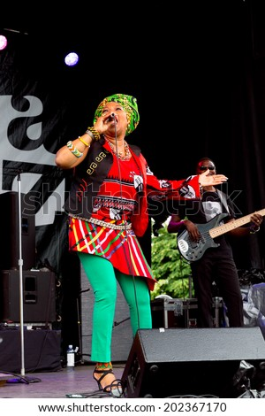 VANCOUVER-JUN 28,2014:South African singer Lorraine Klaasen performs at the 29th Annual Vancouver Jazz Festival.The Montreal-based singer is known for Township music in the tradition of Miriam Makeba. - stock photo