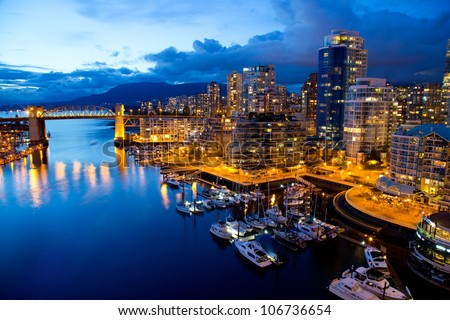 vancouver night view - stock photo