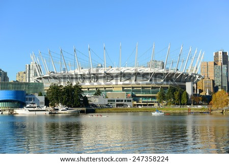 VANCOUVER - NOV 10: BC Place Stadium located at the north bank of False Creek on November 10th, 2014 in Vancouver, British Columbia, Canada. It held opening ceremonies of 20th Winter Olympic Games.  - stock photo