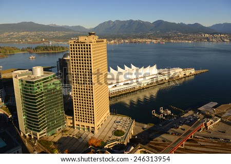 VANCOUVER - NOV 13: Vancouver Granville Square building and Canada Place at Vancouver Harbour, photo taken from the Harbour Centre tower on November 13th, 2014 in Vancouver, British Columbia, Canada. - stock photo