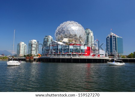VANCOUVER - OCTOBER 17: Science World in Vancouver, Canada on October 17, 2013. Vancouver has been ranked the third most liveable city in the world for the second year in a row. - stock photo