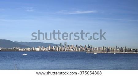 Vancouver panorama, British Columbia, Canada (February 2016) - stock photo