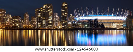 Vancouver panorama with BC Place Stadium in the night - stock photo