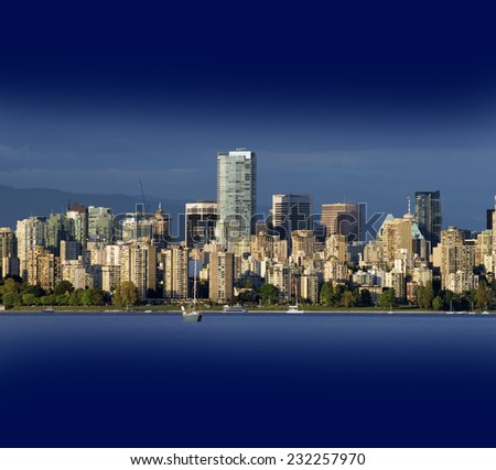 Vancouver, panoramic view with English Bay and dark blue sky - stock photo