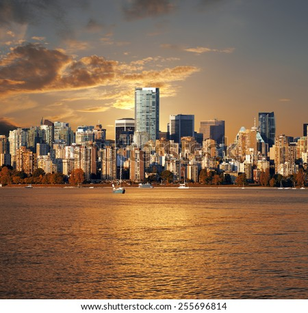 Vancouver, panoramic view with English Bay, British Columbia, Canada - stock photo