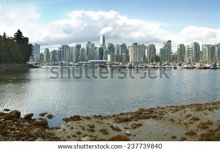 Vancouver skyline and waterfront from Stanley Park. British Columbia. Canada  - stock photo