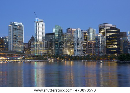 Vancouver skyline at night.