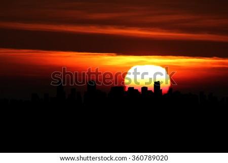 Vancouver skyline at sunset illustration - stock photo