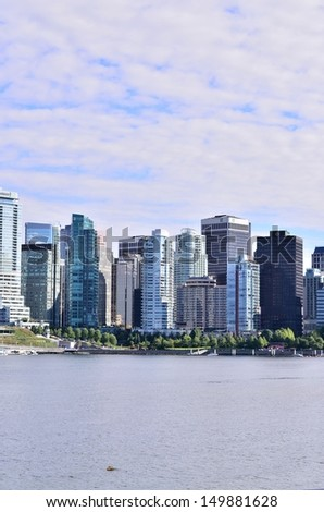 Vancouver skyline view in British Columbia, Canada - stock photo