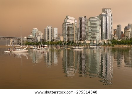 Vancouver Skyline Wildfire Smoke Haze. Smokey haze blankets Vancouver from wildfires burning in the region. British Columbia, Canada.  - stock photo