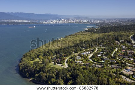 Vancouver - UBC and Point Grey residential area with English Bay, aerial - stock photo