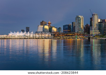 Vancouver Waterfront at Dusk and Reflection in Water - stock photo