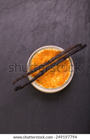 Vanilla bean Creme brulee. Sweet desert - stock photo