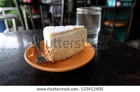 Vanilla cake in the local coffee shop