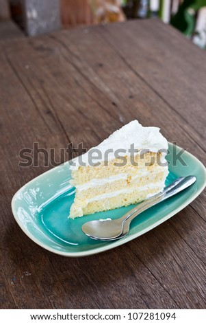 vanilla cake topping with white cream - stock photo