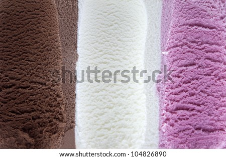 Vanilla chocolate and strawberry ice cream background - stock photo