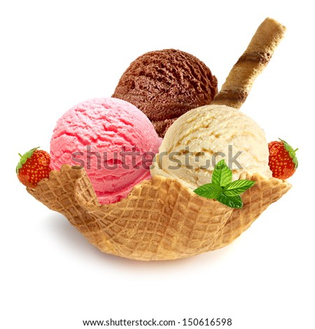 Vanilla, chocolate and strawberry ice cream in wafer bowl on white background