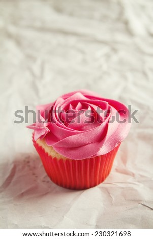 Vanilla cupcake with pink rose piping icing and clear space for text - stock photo