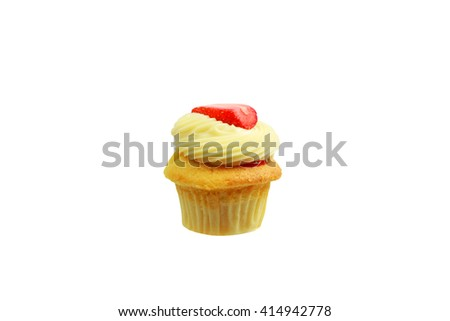 Vanilla Cupcake with strawberry on top isolated on white background - stock photo