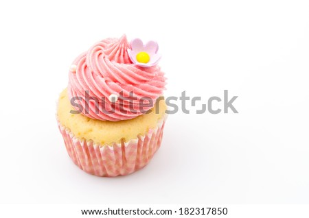 Vanilla cupcakes isolated white background