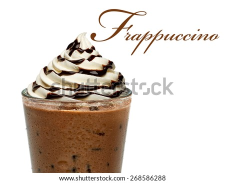 Vanilla frappuccino on white background with copy space - stock photo