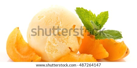 Vanilla ice cream and fresh apricots.