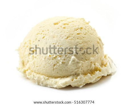 vanilla ice cream ball isolated on white background