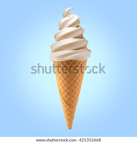 vanilla ice cream cone on background / 3D illustration