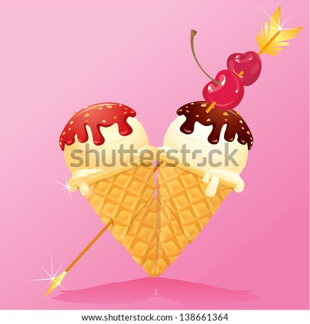 Vanilla Ice cream cones with Chocolate and strawberry glaze in heart shape with arrow and cherry. Design for Valentines Day. Raster version - stock photo