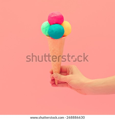 Vanilla Ice cream design. Pink Colors of Summer - stock photo