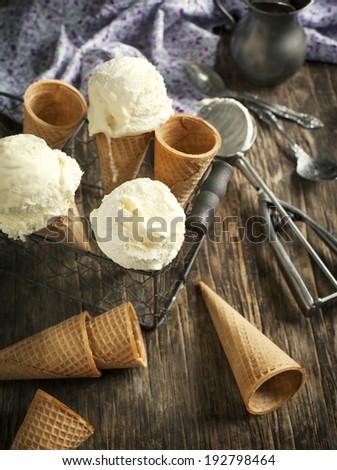 Vanilla Ice Cream in a waffle cone - stock photo