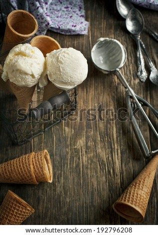 Vanilla Ice Cream in a waffle cones - stock photo