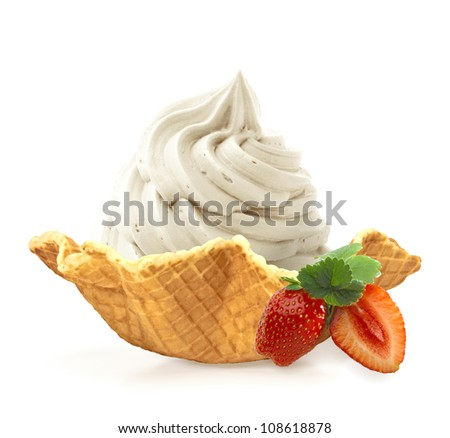 Vanilla ice cream in wafer bowl on white background - stock photo