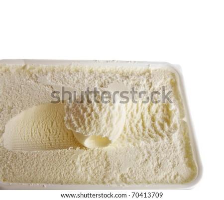 vanilla ice cream isolated on white - stock photo