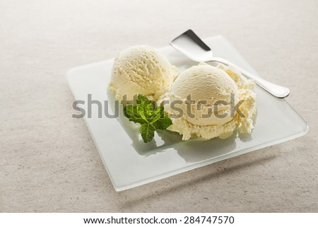 Vanilla ice cream on a plate close up - stock photo