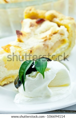 Vanilla ice cream piece of cottage cheese cake with pear. - stock photo