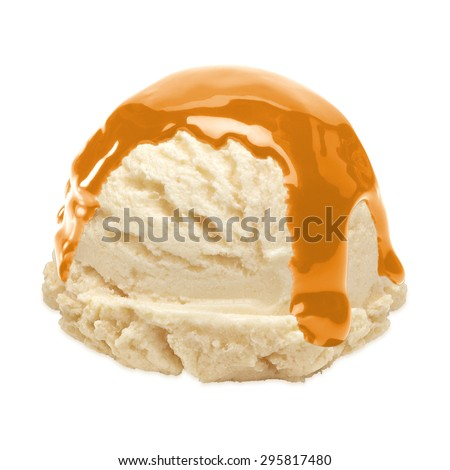 Vanilla ice cream scoop with caramel sauce isolated on white background including clipping path - stock photo