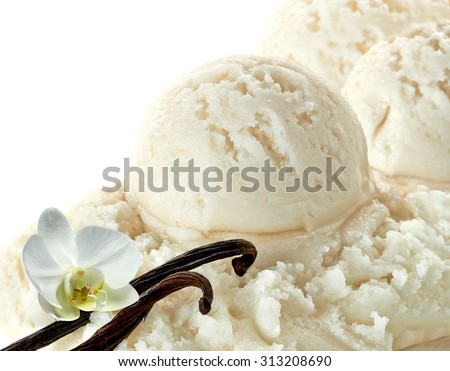 Vanilla ice cream scoops with vanilla beans or pods on white background - stock photo