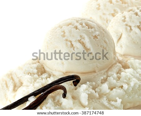 Vanilla ice cream scoops with vanilla beans or pods on white background